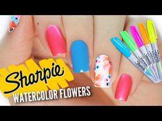DIY Watercolor Sharpie Nail Art   Nail Hack! - YouTube