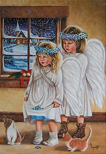 Ginette Paquette Christmas Scenes, Christmas Goodies, Christmas Angels, Christmas Art, Christmas Photos, Winter Christmas, Vintage Christmas Images, Vintage Holiday, Christmas Paintings