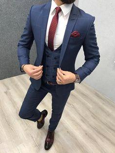 Novan Blue Plaid is part of Blue plaid suit - Available Size 464850525456 Suit material wool, polyester Machine washable No Fitting slimfit Cutting double slits, cover pocket, double button Remarks Dry Cleaner Blue Slim Fit Suit, Blue Plaid Suit, Blue Suit Men, Plaid Bleu, Blue Check Suit, Blue Suits, Indian Men Fashion, Mens Fashion Suits, Fashion 1920s