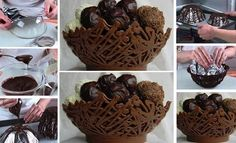 For all the Chocoholics, here's how you can make an edible Chocolate Basket! Chocolate Basket, Chocolate Bowls, I Love Chocolate, How To Make Chocolate, Giant Chocolate, Melted Chocolate, Chocolate Cups, Homemade Chocolate, Chocolate Lovers
