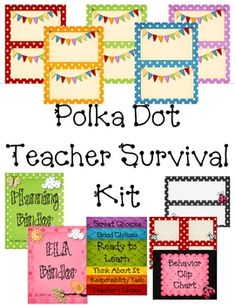This 80 page Teacher Survival kit is for anyone who loves bright colors, polka dots, ladybugs, and premade teacher goodies!