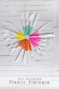 DIY Painted Plastic Flatware