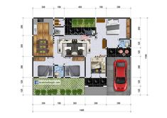 Rumah Memanjang ke Samping 12 x 10 Meter Milik Bapak Febrianto - Jasa Desain Rumah Cool Rooms, Townhouse, House Plans, Floor Plans, Layout, Exterior, House Design, Flooring, How To Plan