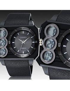 Männer schwarz Runde Zifferblatt Silikonband Japan-Bewegung Mode Tauchsport-Uhr-Armbanduhr (farbig sortiert) - http://uhr.haus/weiq/maenner-schwarz-runde-zifferblatt-silikonband-14