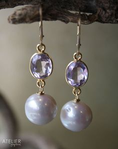 Pink Amethyst and Round Pearl Earrings by ATELIERGabyMarcos, $99.00