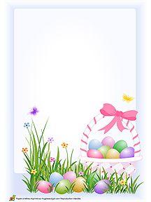 Œufs de Pâques dans un panier, papier à lettre à imprimer