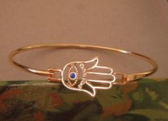 Bracelet Gold Bangle Hamsa Hand Fatima Rhinestones Evil Eye Amulet