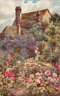 Cottage Garden print hangs in the cottage