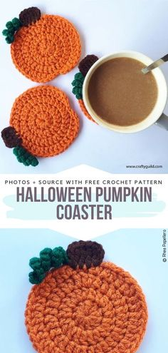 Free Crochet Pattern Halloween Pumpkin Coaster Crochet Pour Halloween, Halloween Crochet Patterns, Free Christmas Crochet Patterns, Crochet Motifs, Free Crochet, Knit Crochet, Crochet Coaster Pattern Free, Free Pattern, Crochet Pumpkin Pattern