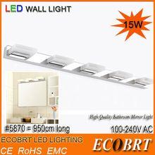 Ecobrt-2014 Настоящий Эдисон 5730 Высококлассное белое светодиодное зеркало из нержавеющей стали для ванной, настенные лампы светильники для дома 15W CE ROHS 110-240V(China (Mainland))