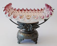 BRIDE'S BASKET - ENAMELLED CASED GLASS BOWL WITH SILVERPLATED HOLDER c.1890    Another View....love this piece.