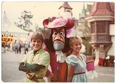 Peter Pan, Captain Hook, and Wendy in Fantasyland at Disneyland, circa 1980s. (Love that they have natural hair!)