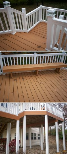 Did you know that composite decking can emulate the look of wood? Shown here is a cedar-tone composite deck accessorized with white vinyl rails and post lantern lights. A matching custom bench provides convenient seating on the deck. White vinyl post covers polish-off the underside. | houzz.com