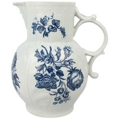 18th Century Worcester Porcelain Dr Wall Period Blue Decorated Cabbage Leaf Jug | From a unique collection of antique and modern vases and vessels at https://www.1stdibs.com/furniture/decorative-objects/vases-vessels/