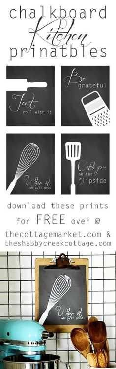 Free Chalkboard Style Kitchen Art Printables - The Cottage Market by regina