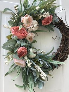 Fall Wreath Fall Wreaths For Front Door Farmhouse Wreath Fall Decor Farmhouse Decor White Pumpk Diy Spring Wreath, Spring Door Wreaths, Autumn Wreaths, Easter Wreaths, Wreaths For Front Door, Diy Wreath, Holiday Wreaths, Front Door Decor, Tulle Wreath
