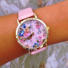 adorable pink floral watch