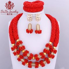 2017 Newest Dubai Red Jewelry Set African Nigerian Set of Beads Costume Jewelry Set Indian Wedding Necklace Set Free Shipping *** AliExpress Affiliate's buyable pin. View the item in details on www.aliexpress.com by clicking the image #AfricanBeadsJewelry