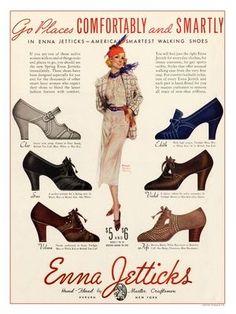 vintage Enna Jetticks 1930s Shoe Ad | 30s pumps, heels + shoes