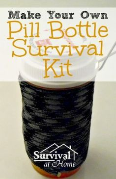 Make Your Own Pill Bottle Survival kit this is really handy for an emergency or camping Survival Food, Camping Survival, Outdoor Survival, Survival Prepping, Survival Skills, Survival Supplies, Wilderness Survival, Survival Quotes, Survival Hacks