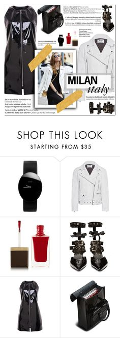 """""""How to Style a Patent Leather Look for Travel to Milan, Italy"""" by outfitsfortravel ❤ liked on Polyvore featuring Rado, Acne Studios, Tom Ford, Robert Clergerie, Balmain and Dr. Martens"""