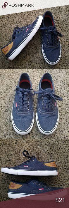 Men's Levi's sneakers Awesome pair of denim lace up Levi sneakers with leather Levi logo on sides.  Very gently used, only a small amount of marking around the bottom. Levi's Shoes Sneakers