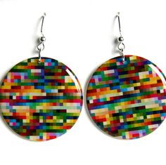 Bright Colorful Squares Large Resin Earrings with Sterling Ear Wires. $18.00, via Etsy.