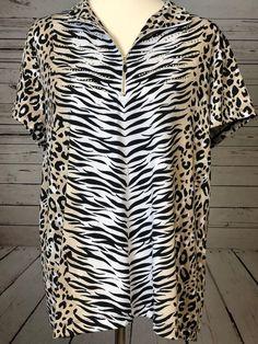 CHICO'S Zenergy Golf Shirt 3 XL Womens Zebra Cheetah Animal Print Chicos X-Large #Chicos #KnitTop #Casual