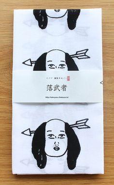 Japanese washcloth, Tenugui 落武者手ぬぐい。なんか変、他にない、をモットーに手ぬぐい制作しています。プレゼントにもオススメ。