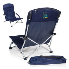 The University of Delaware Blue Hens Tranquility Chair is a portable, tailgating, heavy-duty, fold-flat beach style chair with padded armrests. It features a large zippered pocket along the top back e