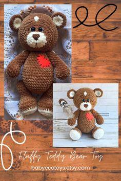 Teddy bear handmade figurine toy / Soft stuffed bear doll / Hand-crocheted plush Teddy bears toy with outfit / Plushies Knitted Teddy Bear, Teddy Bear Toys, Crochet Toys Patterns, Stuffed Toys Patterns, Amigurumi Patterns, Crochet For Boys, Crochet Bear, Handmade Soft Toys, Handmade Ideas