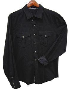 Toku Clothing Black Tonal Top-Stitch Shirt