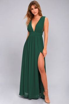 e8804aedea1 Heavenly Hues Forest Green Maxi Dress Kleider