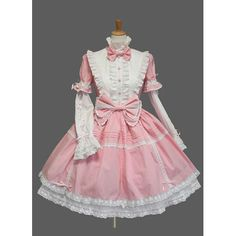 Long Sleeves Pink And White Double Lyaers Lolita Dress With Blet And Bow Knot