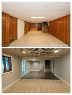 Remodeled basement from paneling and suspended ceiling. Used 8 ft. - Remodeled basement from paneling and suspended ceiling. Used 8 ft. Basement Remodel Diy, Basement Makeover, Basement Renovations, Home Remodeling, Basement Decorating, Decorating Ideas, Basement Plans, Cheap Basement Ideas, Teen Basement