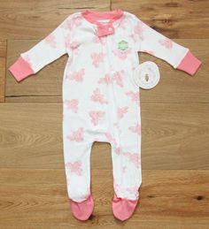 Burt's Bees Baby Girl Zip Up Coverall Sleeper Footie ~ White & Pink ~Butterflies #BurtsBeesBaby #BabyGirl #Coverall
