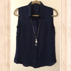 Classic Navy button down New condition. Very versatile and always in style! Violet & Claire Tops Button Down Shirts