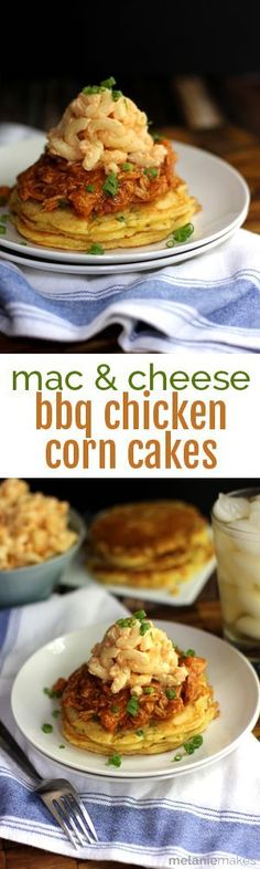 These Mac and Cheese Barbecue Chicken Corn Cakes are a stack of true Southern favorites.  Corn and green onion flecked corn cakes topped with shredded barbecue chicken.  It's all finished with a scoop of the cheesiest mac and cheese around.