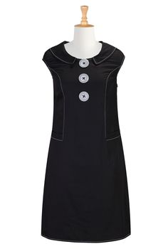 Cute! 1960s shift dress with button detail - eShakti Women's Shawl collar mod shift dress