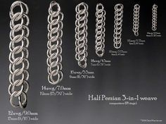 Half persian 3 in 1 weave comparison chart based on 18 rings in different sizes.