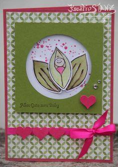 Erbse friends & flowers Baby Geburt Karte gorgeous Grunge olivgrün Wassermelone stampin up kreativstanz Karte