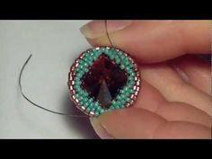 Tutorial: creare una decorazione interna a croce su un rivoli Swarovski da 18mm (parte 1 Sunburst) Bead Jewellery, Jewelry Art, Beaded Jewelry, Jewelery, Beaded Necklace, Jewelry Design, Handmade Beads, Handmade Jewelry, Beaded Rings