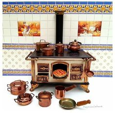 kitchen stove and pots and pans ..