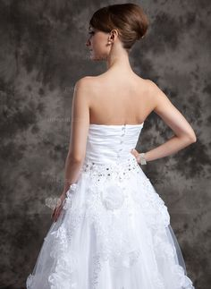A-Line/Princess Sweetheart Ankle-Length Organza Tulle Wedding Dress With Beading Appliques Lace Flower(s) (002014984)