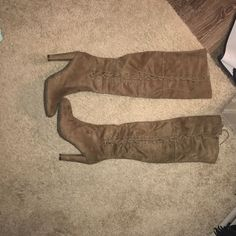 Shop Women's size 8 Over the Knee Boots at a discounted price at Poshmark. Description: knee high boots with heel/ tan/beige color. Knee High Boots, Heeled Boots, Lingerie, Heels, Winter, Fashion, High Heel Boots, Heel, Winter Time