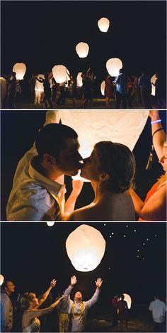 wedding lantern release with guests as reception exit #weddingexit #lanternrelease #weddingchicks http://www.weddingchicks.com/2014/01/29/thrift-savvy-wedding