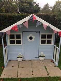 A Poppy Playhouse painted using Cuprinol Coastal Mint and Jasmine Painted Playhouse, Kids Wooden Playhouse, Boys Playhouse, Kids Indoor Playhouse, Garden Playhouse, Build A Playhouse, Playhouse Ideas, Garden Sheds, Bedroom Wall Designs
