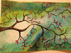 tree branches painted with acrylics. Inspiration, but don't really like these colors.