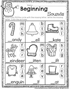 Beginning Sounds worksheet with winter words. Great for Kindergarten and 1st grade. #kindergarten #worksheets #printables