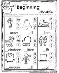 best beginning sounds kindergarten images  preschool  beginning sounds worksheet with winter words great for kindergarten and  st grade kindergarten